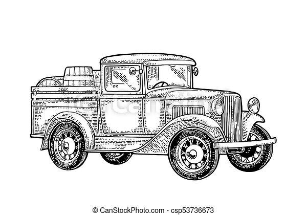 Retro Pickup Truck With Wood Barrel Side View Vintage Black Engraving