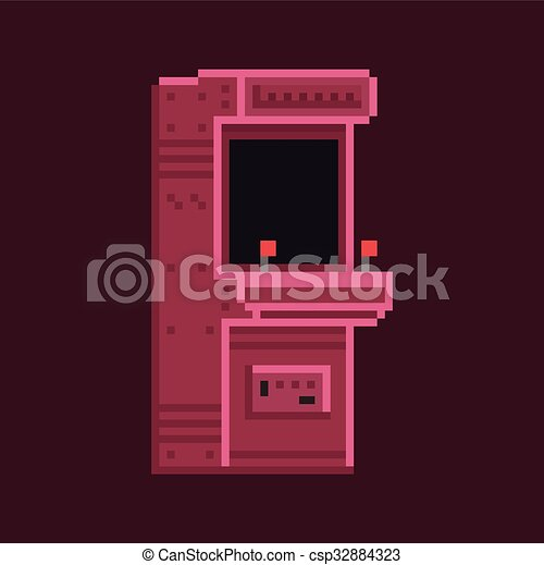 Retro pixel art 8 bit arcade cabinet machine vector - csp32884323