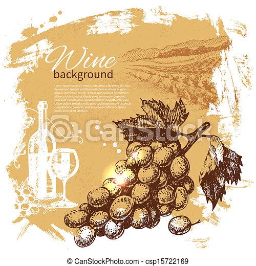 retro, plaska, hand, vin, klick, design, bakgrund., årgång, illustration., oavgjord - csp15722169