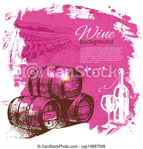 retro, plaska, hand, vin, klick, design, bakgrund., årgång, illustration., oavgjord - csp14687008