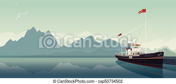 Retro pleasure boat in style of old steamer - csp50734502