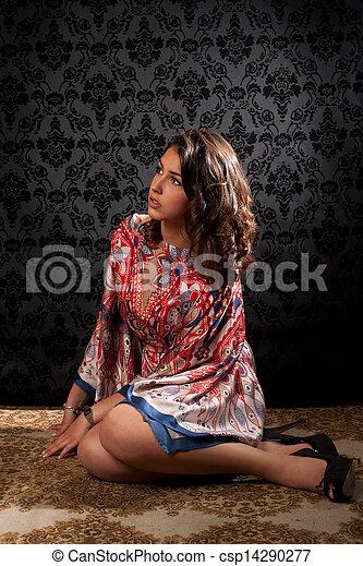 retro portrait of a beautiful woman - csp14290277