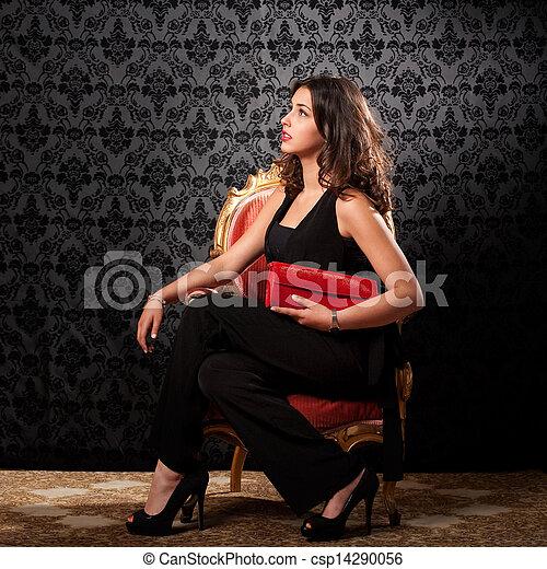 retro portrait of a beautiful woman - csp14290056