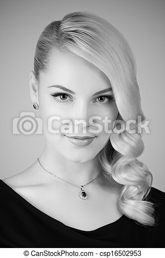 Retro portrait of a beautiful woman - csp16502953