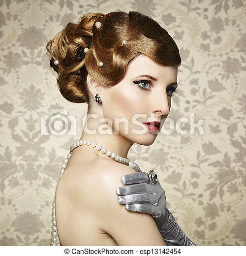 Retro portrait of  beautiful woman. Vintage style - csp13142454