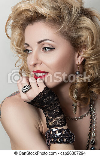 retro, portret, tytułowany, dorosły, kobieta, sexy - csp26307294