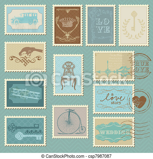 Retro Postage Stamps - for wedding design, invitation, congratulation, scrapbook - csp7987087