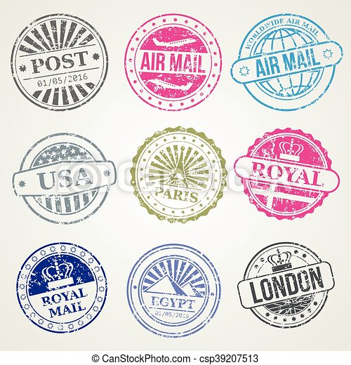 retro postal stamps mail post office air vector set retro postage