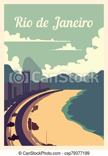 Retro poster Rio De Janeiro city skyline vintage, vector illustration. - csp79377199