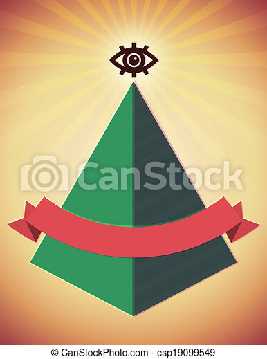Retro poster with all seeing eye and pyramid - csp19099549