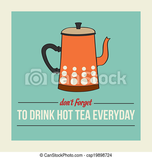 retro poster with kettle and message - csp19898724