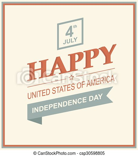 Retro Printing Card For Independence Day Vector Illustration Of Us