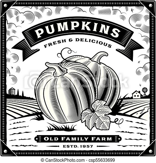 Retro pumpkin harvest label with landscape black and white - csp55633699