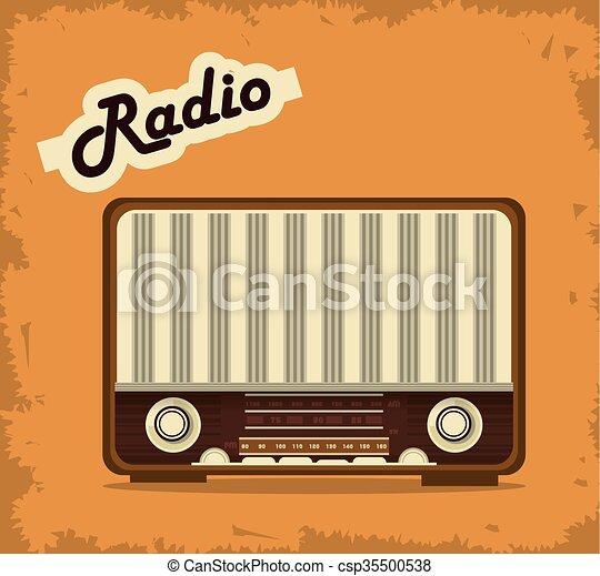Retro radio design, vector illustration. Retro concept with ...