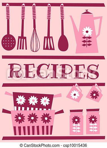 Retro Recipe Card Illustration Of Kitchen Accessories In