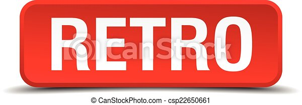 Retro red 3d square button isolated on white - csp22650661