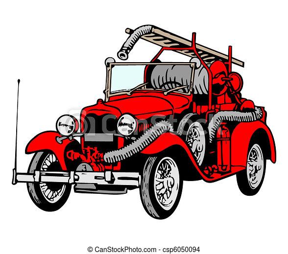 Retro red firetruck - csp6050094