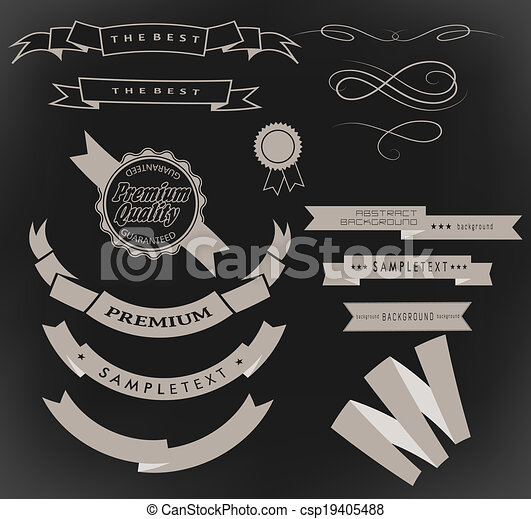 retro ribbons and labels - csp19405488