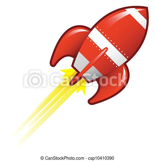 Retro rocketship vector - csp10410390