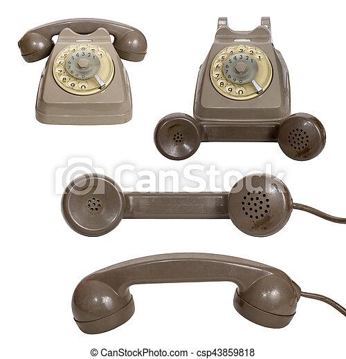 Retro rotary telephone isolated on white background - csp43859818