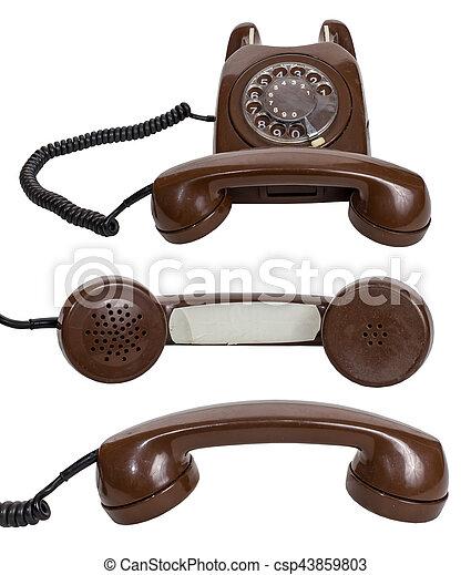 Retro rotary telephone isolated on white background - csp43859803