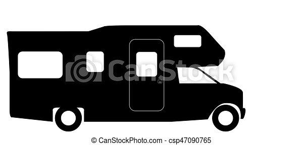 Retro RV Camper Van Silhouette