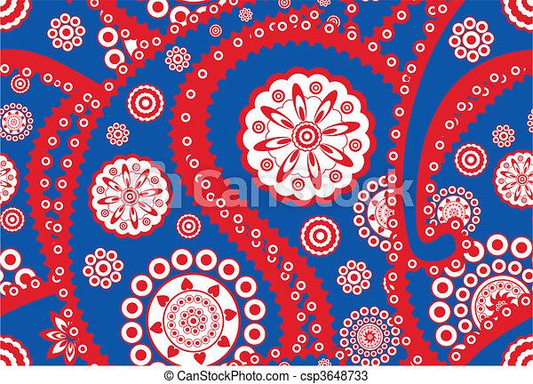 Retro seamless paisley (turkish cucumber) vector pattern - csp3648733