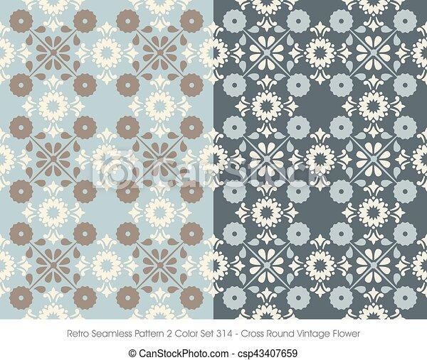 Retro Seamless Pattern Cross Round Vintage Flower - csp43407659
