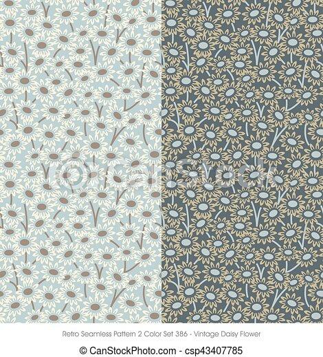 Retro Seamless Pattern Vintage Daisy Flower - csp43407785