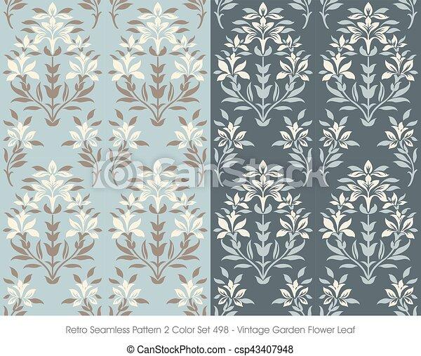 Retro Seamless Pattern Vintage Garden Flower Leaf - csp43407948