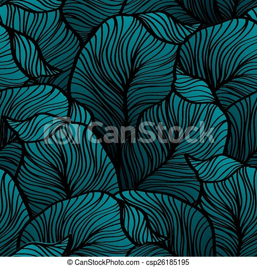 Retro seamless pattern with abstract doodle leaves - csp26185195