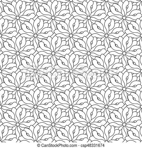 Retro Seamless Wallpaper Background Black White Curve Spiral Outline Cross Flower Kaleidoscope