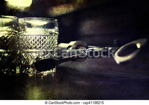 retro shabby picture corkscrew bottle glasses - csp41198215
