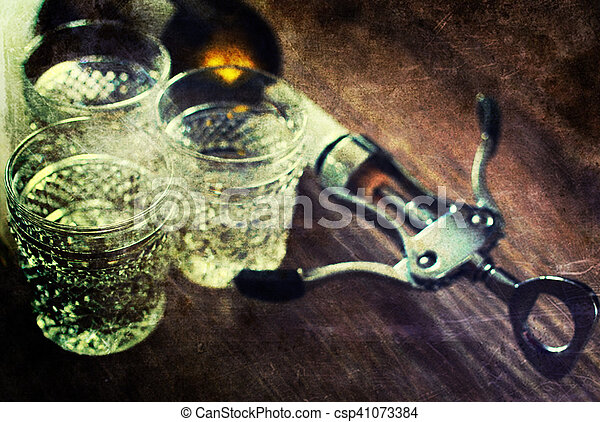retro shabby picture corkscrew bottle glasses - csp41073384