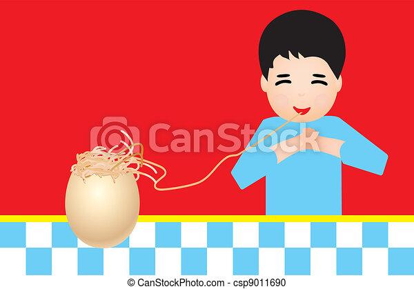 Retro shield with boy eating pasta - csp9011690