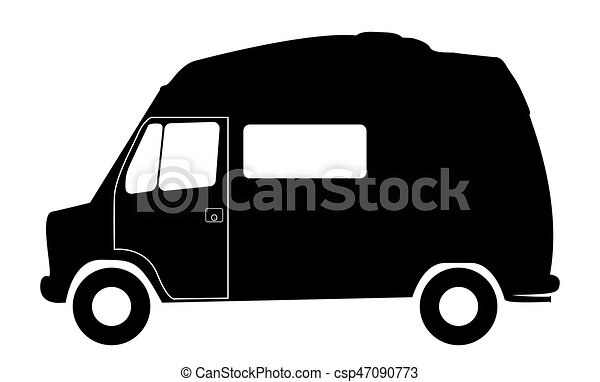 Retro Short RV Camper Van Silhouette