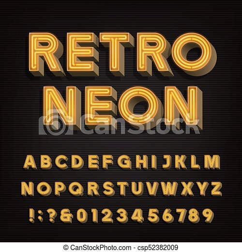 Retro Sign Alphabet 3d Vintage Neon Letters And Numbers Signboard Font Stock Vector Typeface For Your Headers Any Typography Design