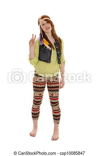 Retro Sixties Peace Love Hipp Chick - csp10085847