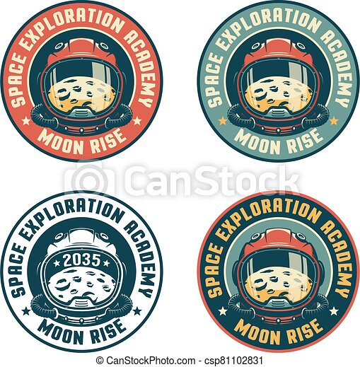 Retro space badge with astronaut helmet and moon - csp81102831