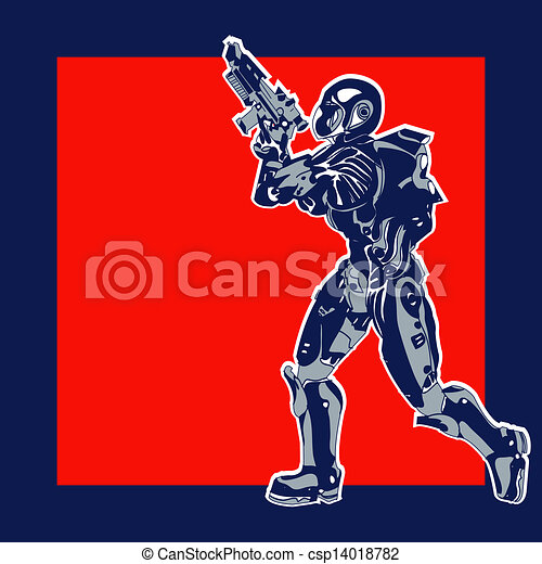 Retro Space Label, vector background with an armoured marine in a comic book style - csp14018782