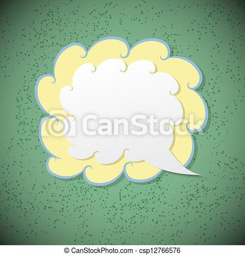 Retro speech bubble on green background - csp12766576