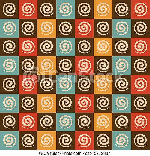 Retro spiral and square pattern - csp15772387