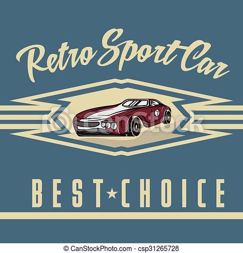 retro sport car old vintage poster - csp31265728