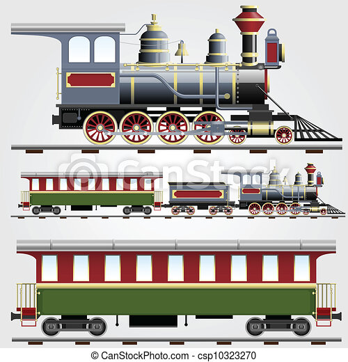 Illustration Of Retro Steam Train With Coach