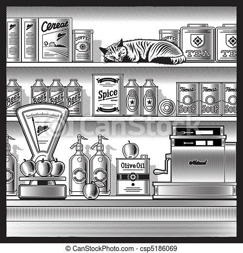 Retro store black and white - csp5186069