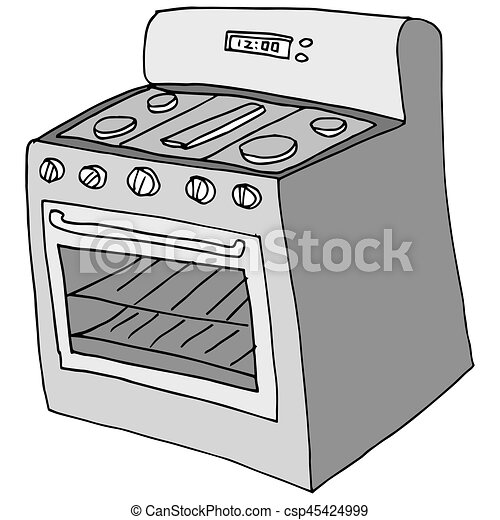 An Image Of A Retro Stove Drawing Eps Vectors