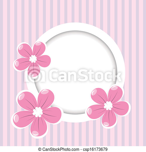 Retro striped background with frame for your text and flowers - csp16173679