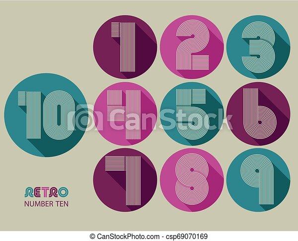 Retro stripes funky numbers set - csp69070169