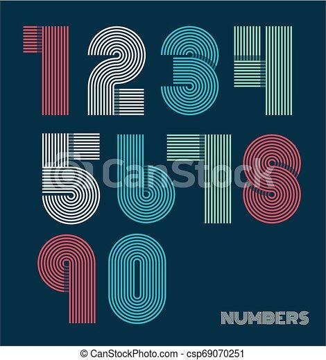 Retro stripes funky numbers set - csp69070251