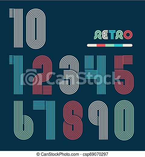 Retro stripes funky numbers set - csp69070297